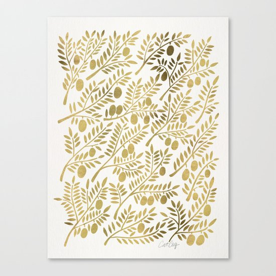 Gold Olive Branches Canvas Print