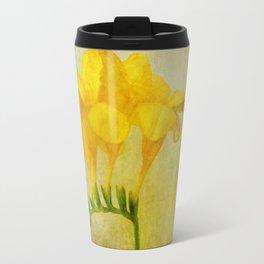 Vintage Yellow Freesia Travel Mug