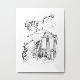 Wendy Thompson Hut - Single Line Metal Print