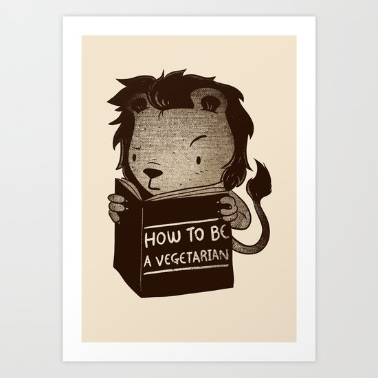 Lion Book How To Be Vegetarian Art Print