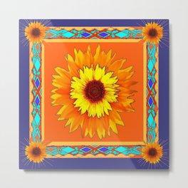 Southwestern Sun Flowers Abstract Design Metal Print