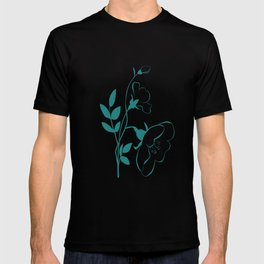 Stylized Flower in Turquoise T-shirt