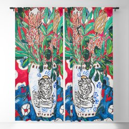 Rex Manning Day Red Floral Still Life with Lion Vase Blackout Curtain