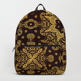 golden flowers on the brown background Backpack
