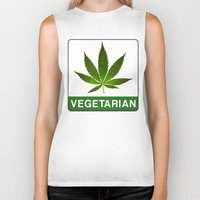 vegetarian Biker Tanks featuring VEGETARIAN Weed by Spyck