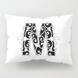 Letter M Elegant Scroll Initial Pillow Sham