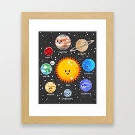 Solar system Kawaii style Framed Art Print