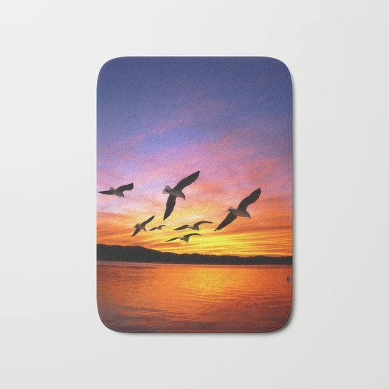 Seagull Sunset Bath Mat