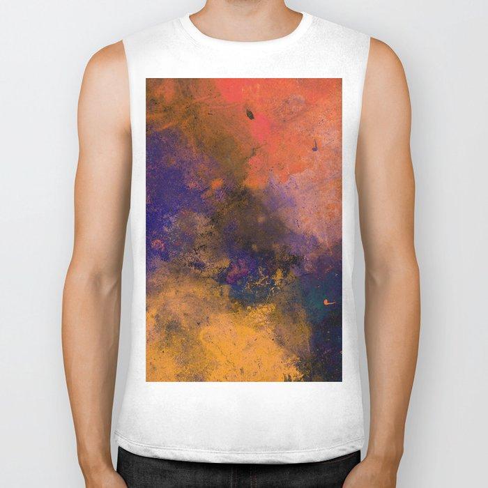 Inner Peace - Orange, red, blue, pastel, textured painting Biker Tank