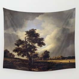 Jacob van Ruisdael - Country Road with Cornfields and Oak Tree Wall Tapestry