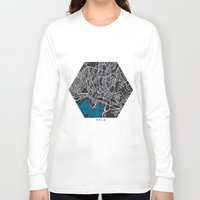 oslo Long Sleeve T-shirts featuring Oslo city map black colour by MCartography