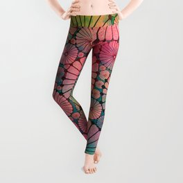 Abstract Floral Circles Leggings