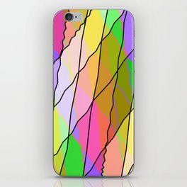 Mirrored square shards of curved green intersecting ribbons and gentle lines. iPhone Skin
