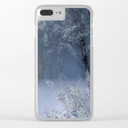 Blue Snow Forest Clear iPhone Case