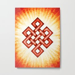 Endless Knot Red Metal Print