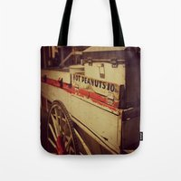 peanuts Tote Bags featuring Vintage Peanuts Cart by KimberosePhotography