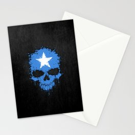 Flag of Somalia on a Chaotic Splatter Skull Stationery Cards