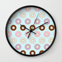 doughnut Wall Clocks featuring Doughnut Polka by Karolis Butenas