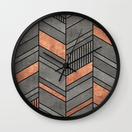 Abstract Chevron Pattern - Concrete and Copper Wall Clock