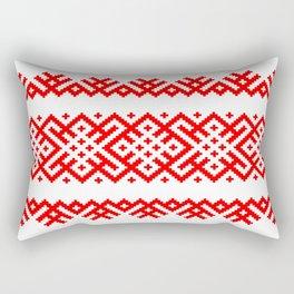 Ethno Slavic Pattern - Bogoroditsa - Symbol Horizontal - Large Scale - Red Ornament Rectangular Pillow