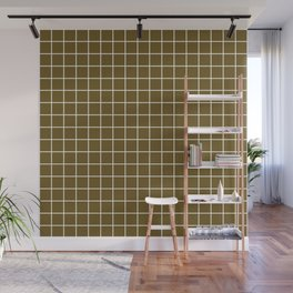 Field drab - brown color - White Lines Grid Pattern Wall Mural