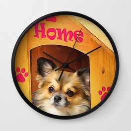 A long haired Chihuahua. (Painting) Wall Clock