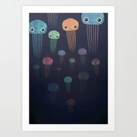 jellyfish Art Prints featuring Jellyfish by Andrew Fox