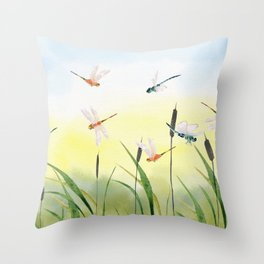 Dragonfly Party  Throw Pillow