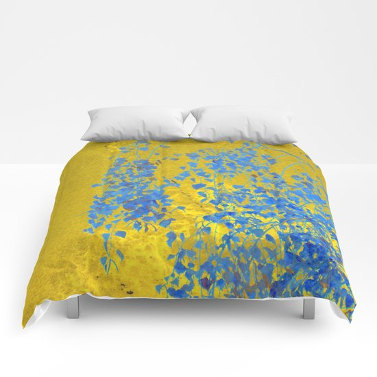 Blue Branch on Gold Comforters