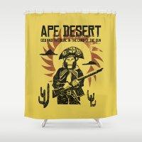ape Shower Curtains featuring Ape desert by Luiz Fogaça