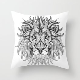 Ethnic Tribal Lion Doodle 04 Throw Pillow
