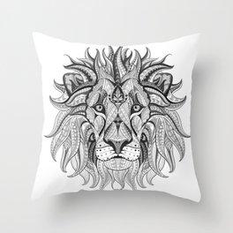 Ethnic Tribal Lion Doodle 04 Throw Pillow