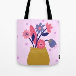 Pink Spotty Flower Tote Bag