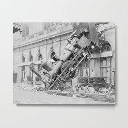 Train Wreck At Montparnasse Station - 1895 Metal Print