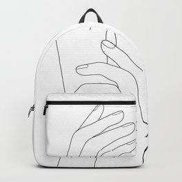 Minimal Line Art Feminine Hands Backpack