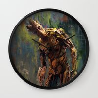 groot Wall Clocks featuring I am Groot! by Wisesnail