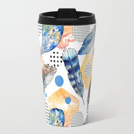 Geometrical blue yellow watercolor bohemian feathers Travel Mug