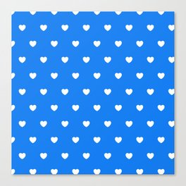 HEARTS ((white on true blue)) Canvas Print
