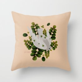 Leaves x Dove Throw Pillow