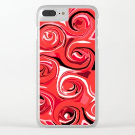 Red Apple Abstract Swirls Pattern Clear iPhone Case
