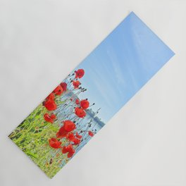 Red poppies in the lakeshore Yoga Mat