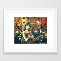 lanterns Framed Art Prints featuring Lanterns by Nadiezda