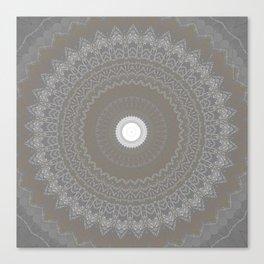 Concrete and White Lace Mandala Canvas Print