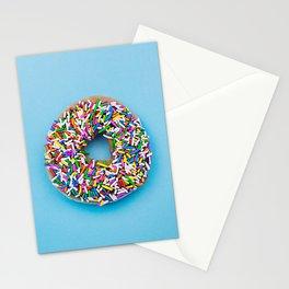 Hyperreal Sprinkled Donut on Blue Stationery Cards