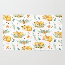 Modern orange teal watercolor fox floral pattern Rug