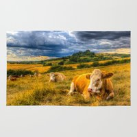 cows Area & Throw Rugs featuring Resting Cows by David Pyatt