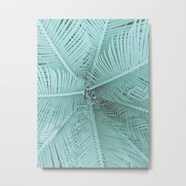 Turquoise Teal Palm Leaves Urban Jungle Summer Art Metal Print