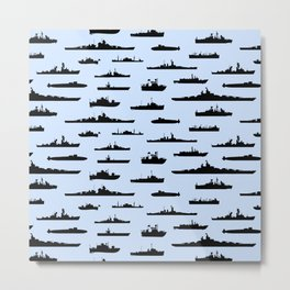 Battleship // Light Blue Metal Print