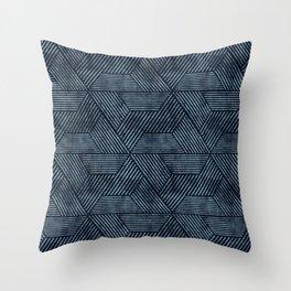 cadence triangles - navy blue Throw Pillow