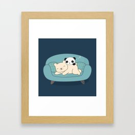 Kawaii Lazy Panda and Polar Bear Framed Art Print